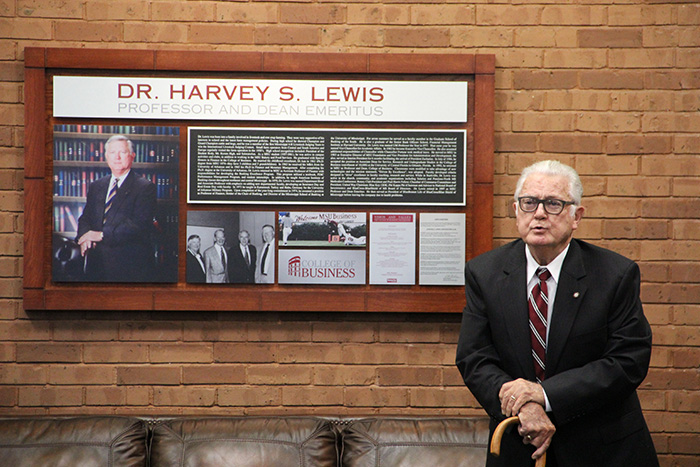 Dr. Harvey S. Lewis at College of Business Mezzanine Dedication